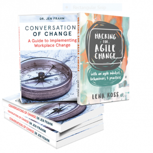 Conversations of Change & Hacking for agile change book covers